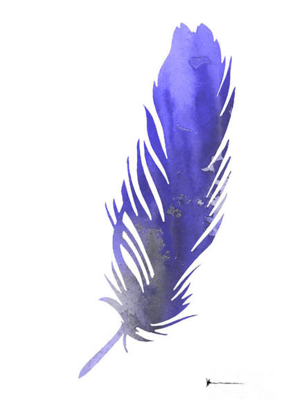 Feather Mixed Media - Feather Silhouette Watercolor Art Print Poster by Joanna Szmerdt
