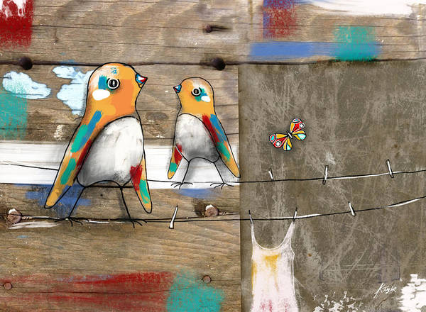 Clothesline Painting - Feathered Friends by Karin Taylor