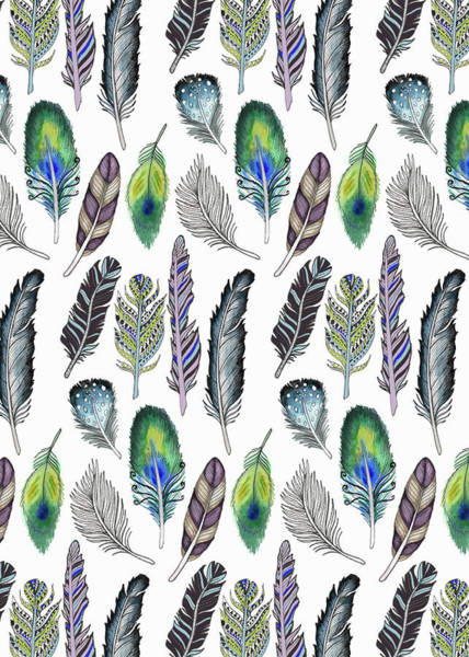 Wall Art - Painting - Feathers Illustrative Funky Bohemian Repeat On White.jpg by MGL Meiklejohn Graphics Licensing