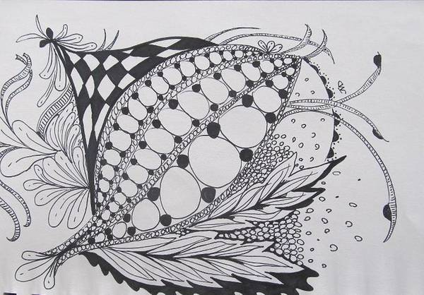 Drawing - Feathers In Zen Tangle by Sharon Duguay