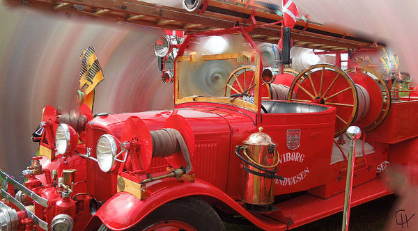 Photograph - Featured Old Fire Engine Denmark by Colette V Hera  Guggenheim