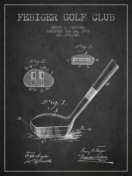 Pga Digital Art - Febiger Golf Club Patent Drawing From 1902 - Dark by Aged Pixel