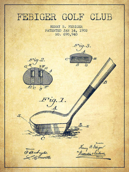 Pga Digital Art - Febiger Golf Club Patent Drawing From 1902 - Vintage by Aged Pixel