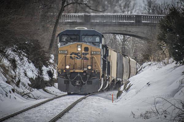 Subdivision Photograph - February 20. 2015 - Csx Q596 by Jim Pearson