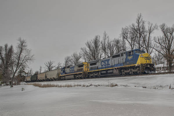 Subdivision Photograph - February 25. 2015 - Csx Q597 by Jim Pearson