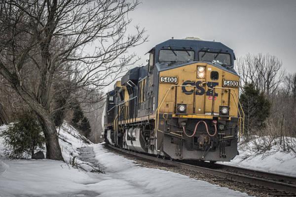 Subdivision Photograph - February 26. 2015 - Csx Q596 by Jim Pearson