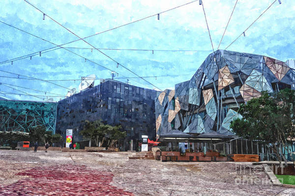 Melbourne Digital Art - Federation Square In Melbourne Australia by Beverly Claire Kaiya