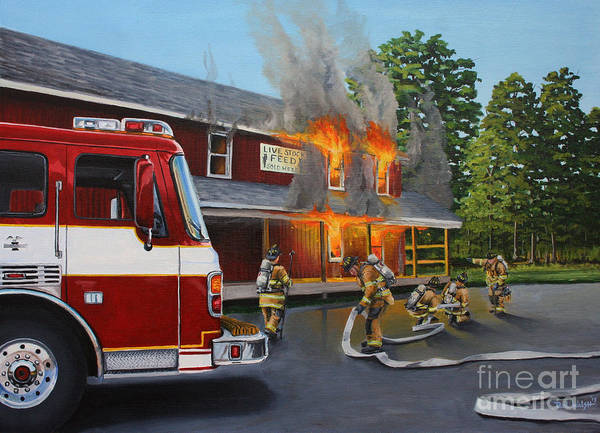 Fire Truck Wall Art - Painting - Feed Store Fire by Paul Walsh