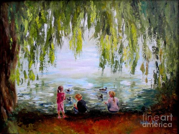 Feeding Ducks At Fort Dent Park Art Print