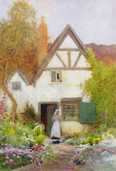 Bonnet Painting - Feeding The Cat by Arthur Claude Strachan