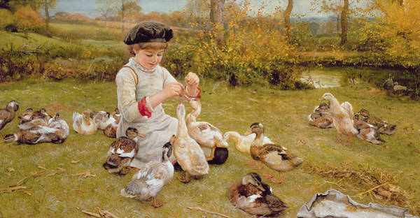 Beret Photograph - Feeding The Ducks by Edward Killingworth Johnson