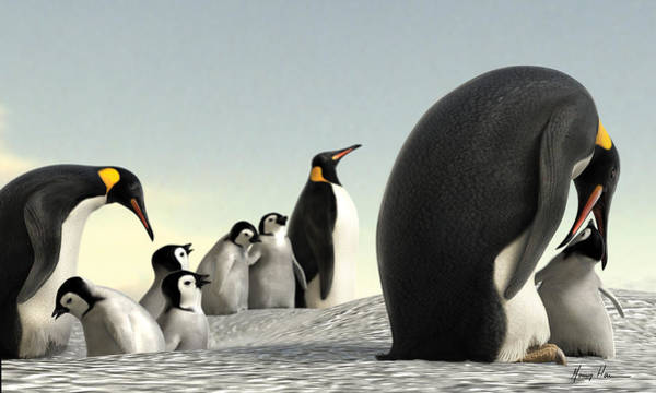 Penguin Painting - Feeding Time by Gary Hanna