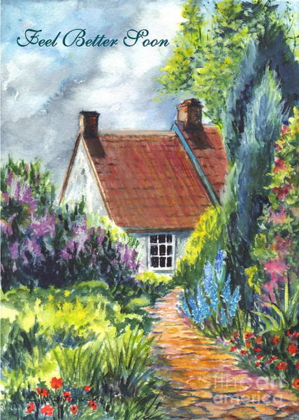 Wishing Well Painting - Feel Better Soon  by Carol Wisniewski