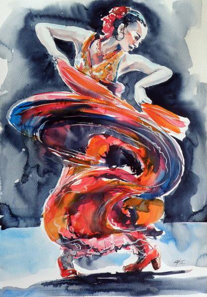 Flamenco Painting - Feeling by Kovacs Anna Brigitta
