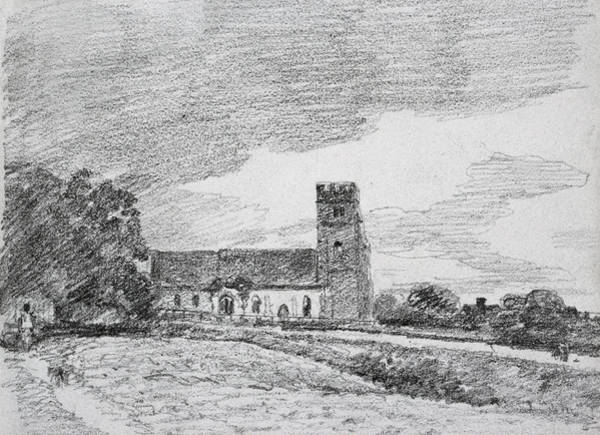 Crayon Drawing - Feering Church, 1814 by John Constable