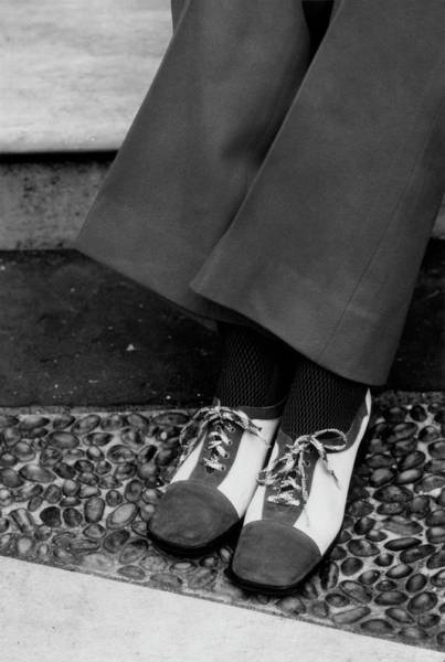 Body Part Photograph - Feet Of A Model Wearing Two-tone Pant Shoes by William Connors