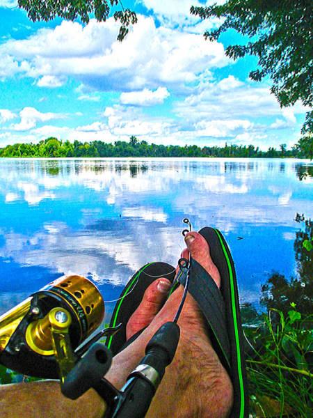 Feet Up Fishing Crab Orchard Lake Art Print