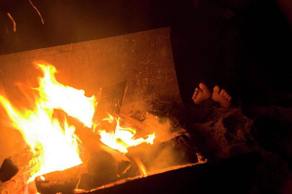 Wall Art - Photograph - Feet Warm By An Open Campfire, Lake by Gabe Palacio