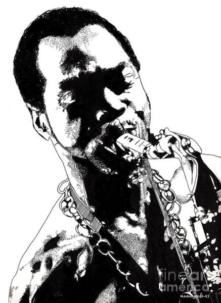 Flag Drawing - Fela Kuti by Nancy Mergybrower