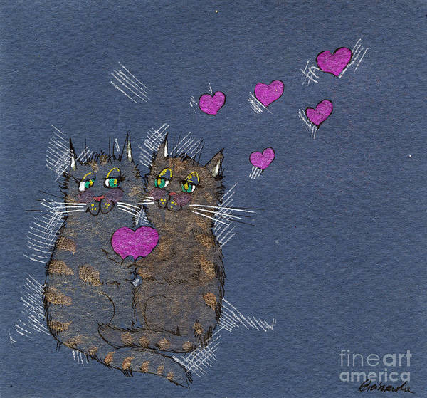 Pussycat Drawing - Felines In Love by Angel Ciesniarska