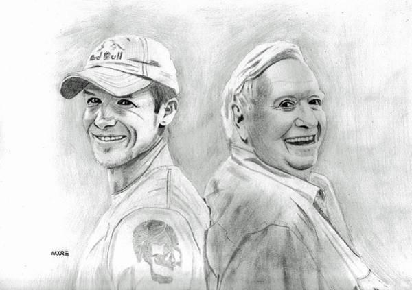 Drawing - Felix Baumgartner And Joe Kittinger by Pat Moore