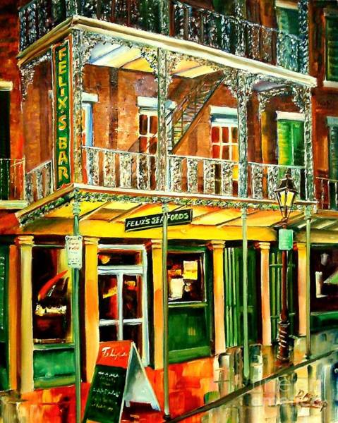 City Cafe Wall Art - Painting - Felixs Oyster Bar by Diane Millsap