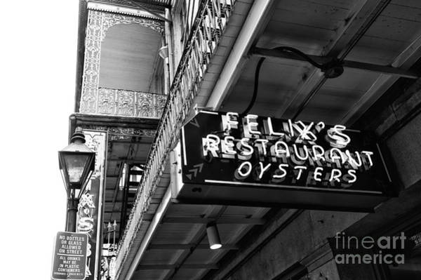 Oyster Bar Wall Art - Photograph - Felix's Restaurant Oysters Mono by John Rizzuto