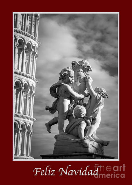 Photograph - Feliz Navidad With Fountain Of Angels by Prints of Italy