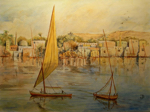 Ancient Egypt Painting - Feluccas At Aswan Egypt. by Juan  Bosco