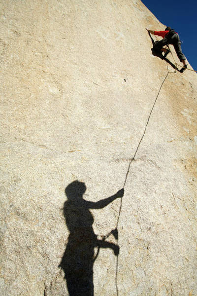Wall Art - Photograph - Female Belay Shadow On Rock by Corey Rich