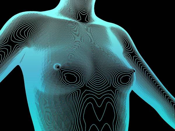 Contour Map Photograph - Female Body Contour Map by Alfred Pasieka/science Photo Library