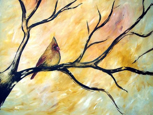 Art Print featuring the painting Female Cardinal by Cynthia Amaral