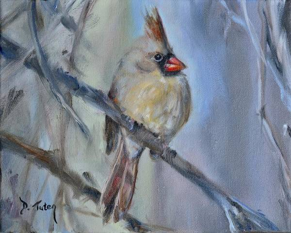 Painting - Female Cardinal by Donna Tuten