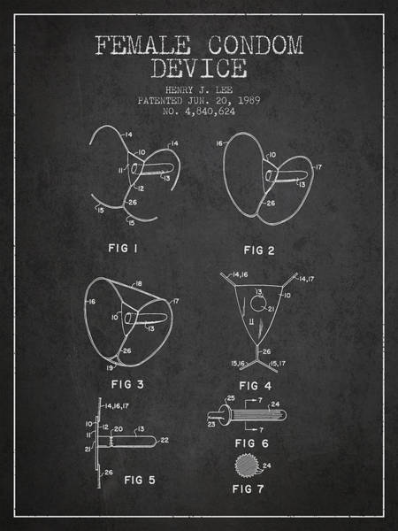 Birth Digital Art - Female Condom Device Patent From 1989 - Charcoal by Aged Pixel