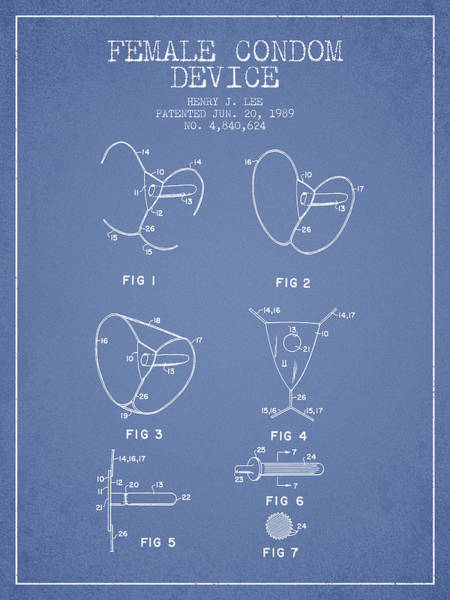 Pregnancy Digital Art - Female Condom Device Patent From 1989 - Light Blue by Aged Pixel