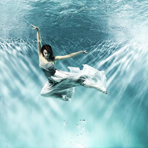 Underwater Camera Photograph - Female Dancer Under Water by Henrik Sorensen