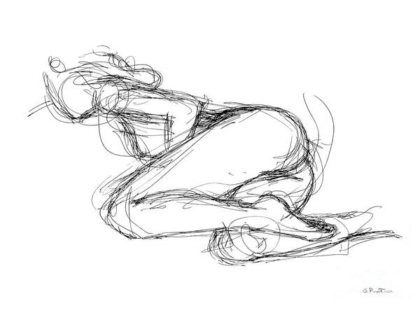 Drawing - Female-erotic-sketches-8 by Gordon Punt