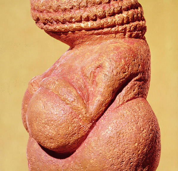 Founded Photograph - Female Figurine Known As The Venus Of Willendorf, Side View Detail Of Torso, Gravettian Culture by Paleolithic