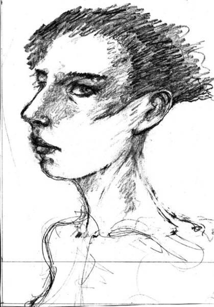 Drawing - Female Head by Maxim Komissarchik