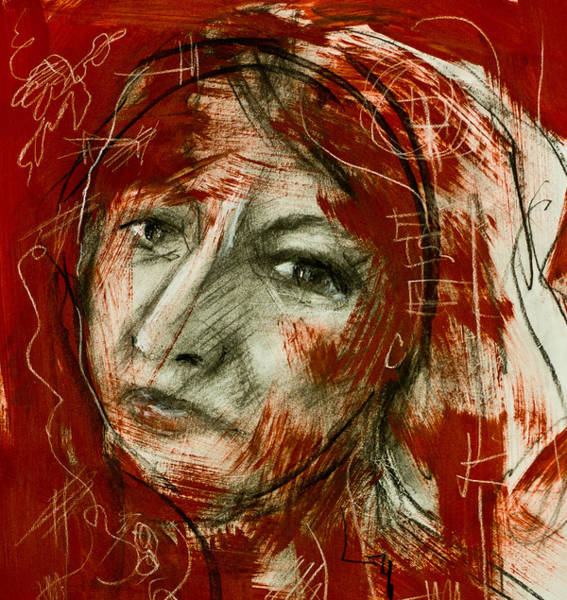 Painting - Female Head With Red Background by Maxim Komissarchik