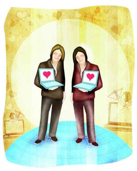 Wall Art - Photograph - Female Homosexual Couple Standing With Laptops by Fanatic Studio / Science Photo Library