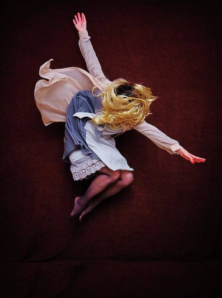 Human Arm Photograph - Female Jumping Blonde Hair Arms Wide by Cynthia Saxon Cox