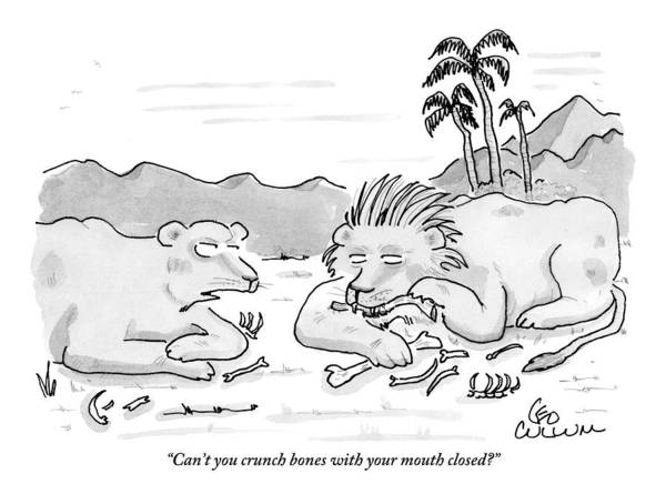 Bone Drawing - Female Lion Chastising Her Husband by Leo Cullum