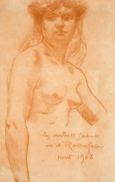 Chestnut Hair Drawing - Female Nude by Armand Rassenfosse