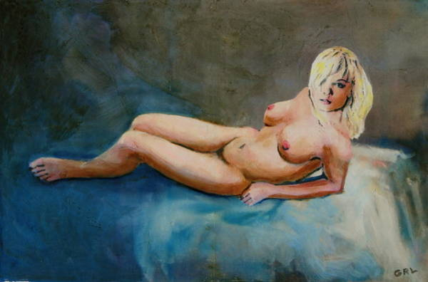 Painting - Female Nude Nikie Reclining With Blue by G Linsenmayer