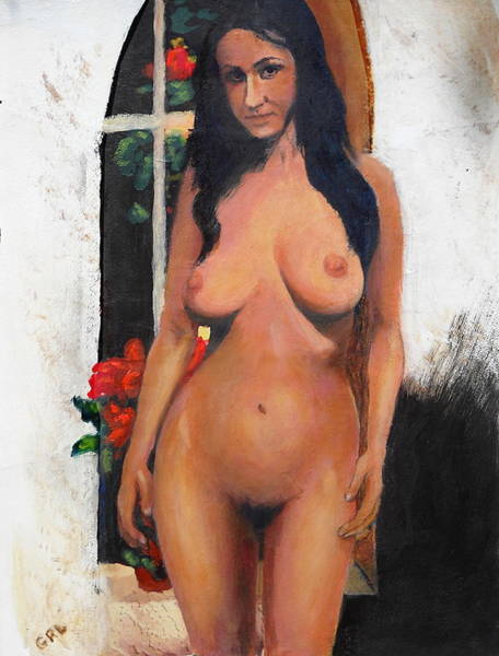 Painting - Female Nude Standing With Red Begonia by G Linsenmayer