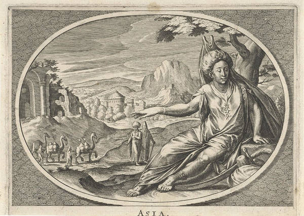 Hoof Drawing - Female Personification Of Continent Of Asia As A Woman by Cornelis Van Dalen Ii