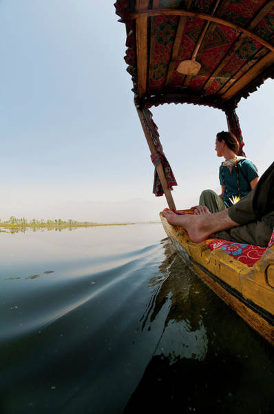 Dal Lake Photograph - Female Western Tourist In Bow by Steve MacAulay