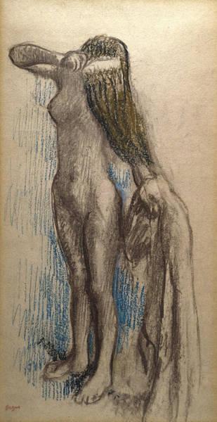 Beautiful Girl Drawing - Femme Se Coiffant by Edgar Degas