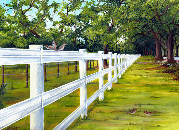 White Picket Fence Painting - Fence Along The Grove by Elaine Hodges